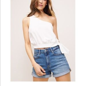 Dynamite One Shoulder Cropped Blouse